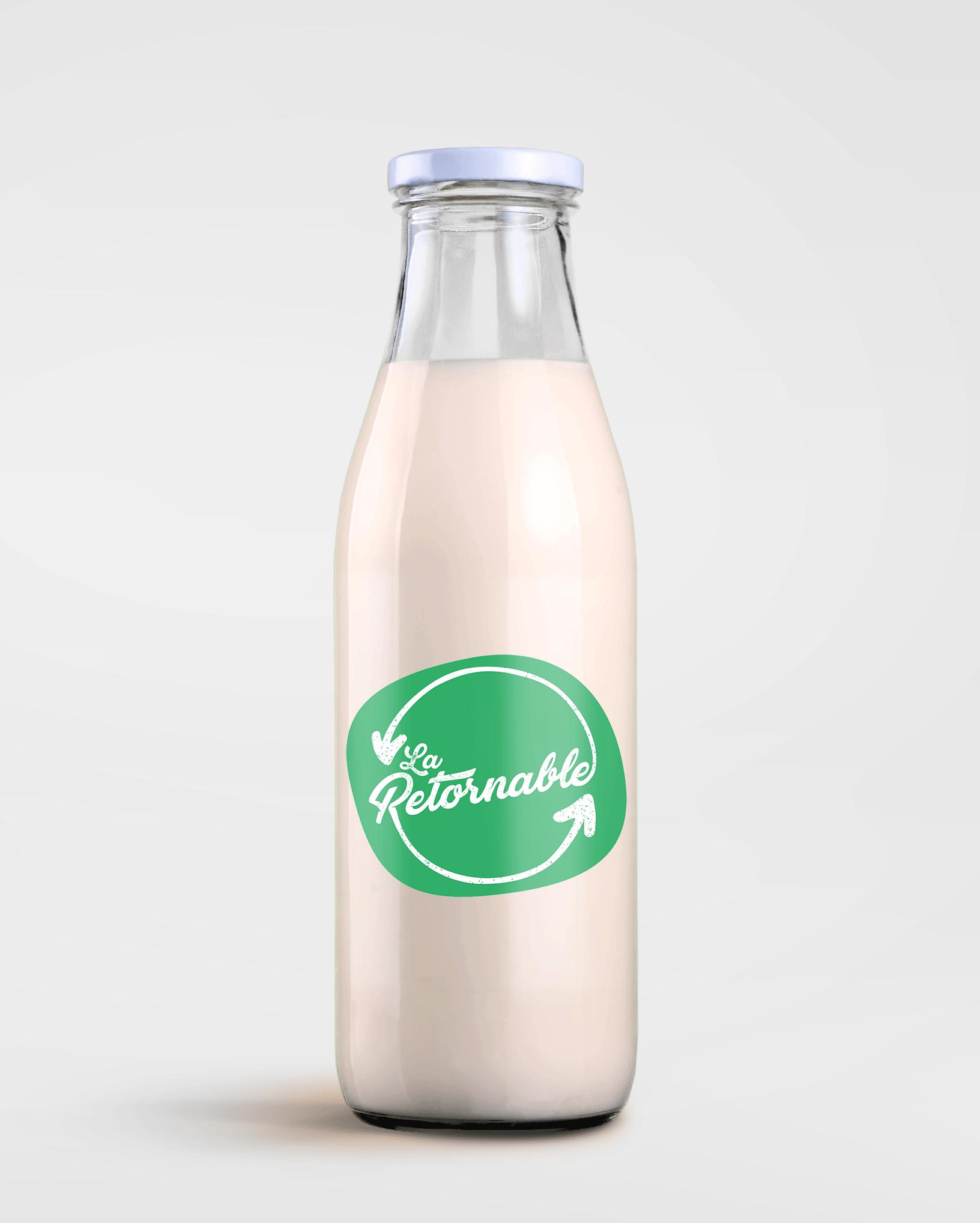 Botella de bebida de avena con logotipo de La Retornable